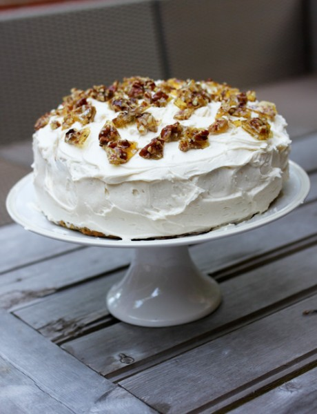 Sour Cream Layer Cake With Pecan Brittle Recipe — Dishmaps