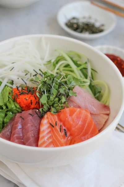 Korean Sashimi with vegetables and rice